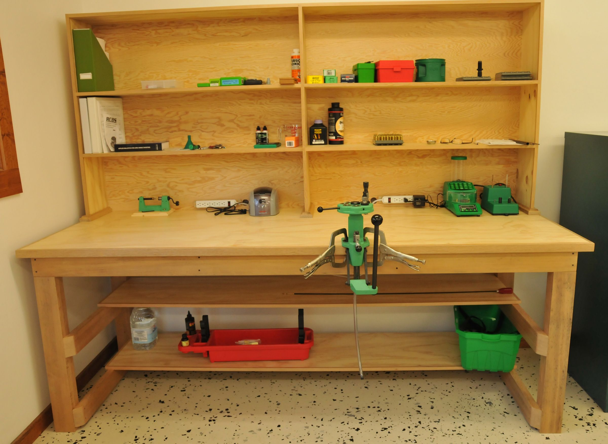 The Reloading Bench That I Designed And Hubby Built I Sanded And Clear Coated 8 X 3 X 36 Tall Uppe Reloading Bench Reloading Bench Plans Reloading Room
