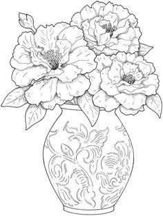 Creative Haven Beautiful Flower Arrangements Coloring Book pages