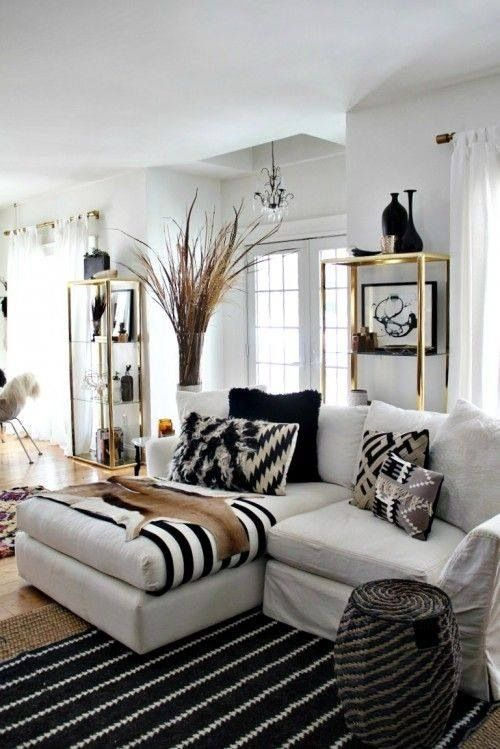 spring home tour room decor neutral and living rooms - Black And White Themed Living Room