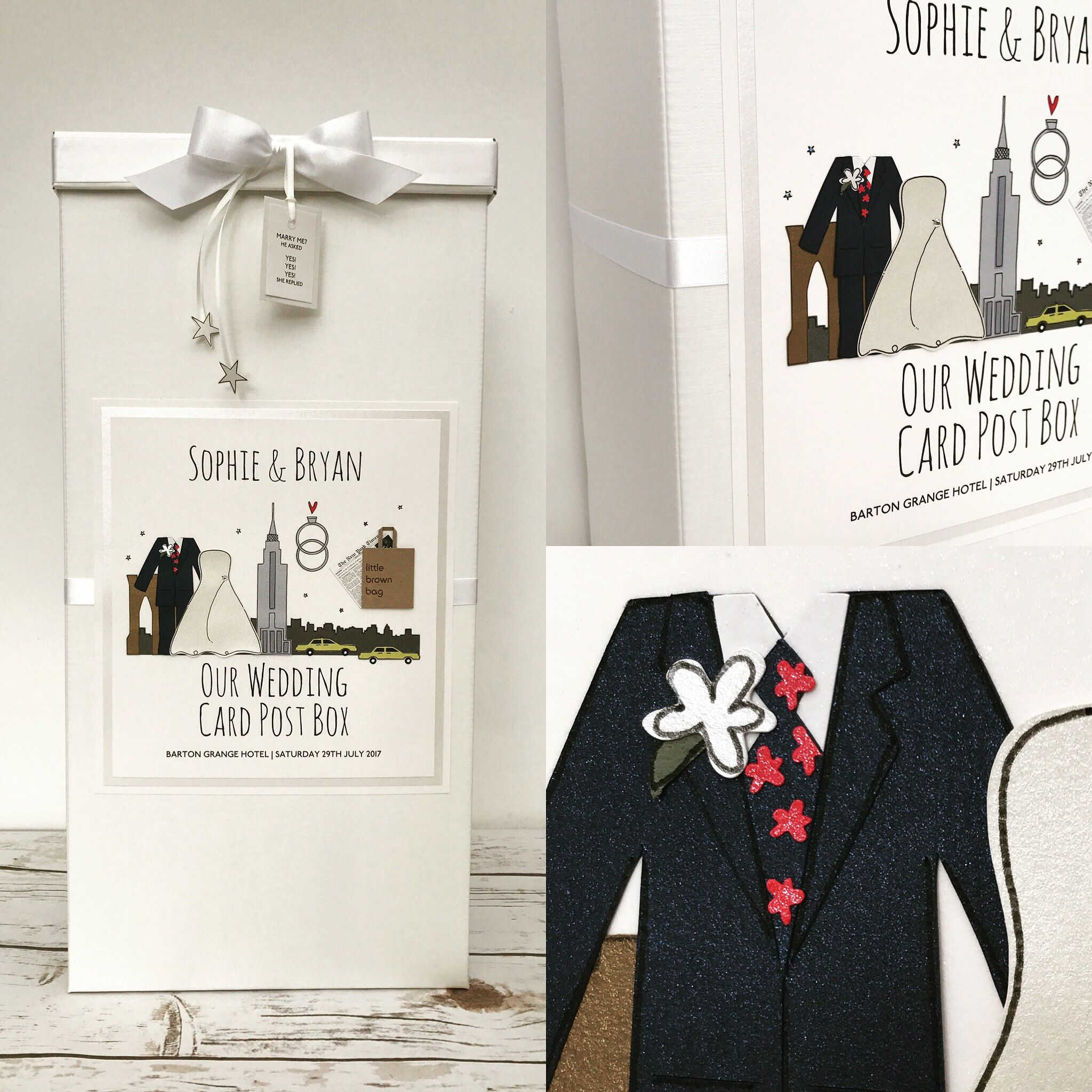 New York themed Wedding Card Post Box | New York Wedding Stationery ...