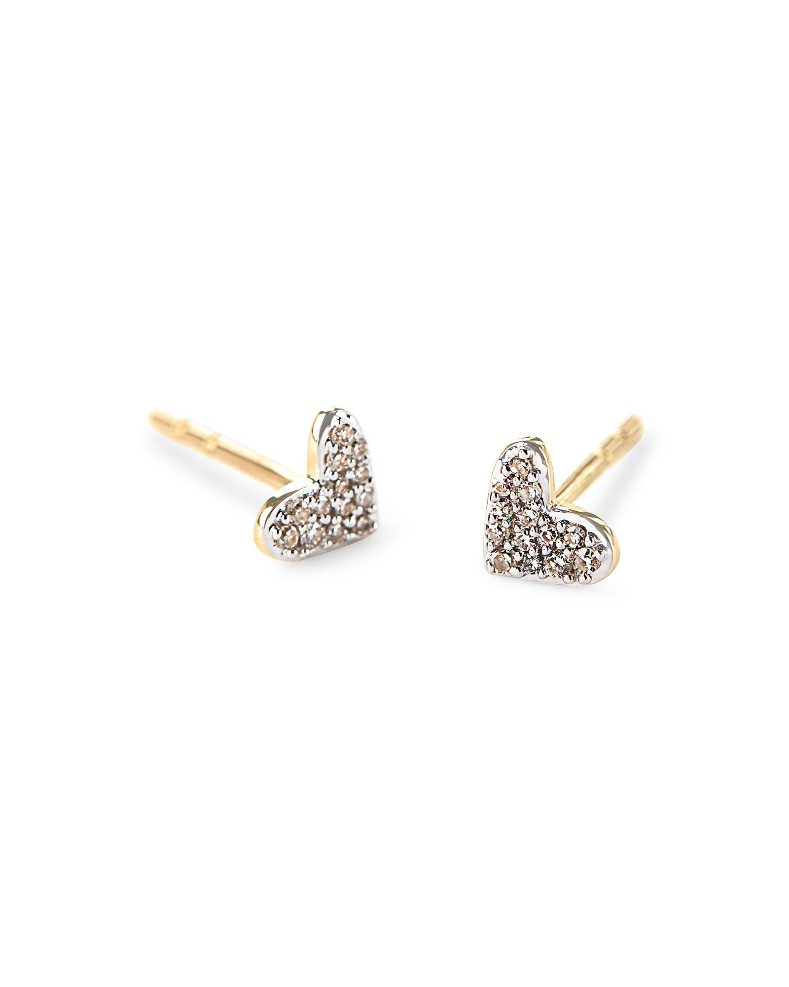 Gifts For Her Heart 14k Yellow Gold Stud Earrings In White Diamonds Gold Earrings Studs 14k Yellow Gold Stud Earrings Yellow Gold Earrings Studs