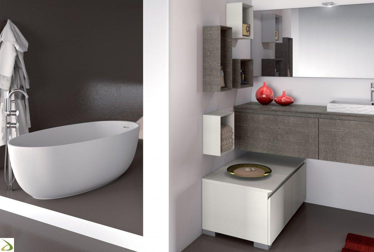 Mobile bagno moderno ad angolo con pensili e specchiera | Bagni ...