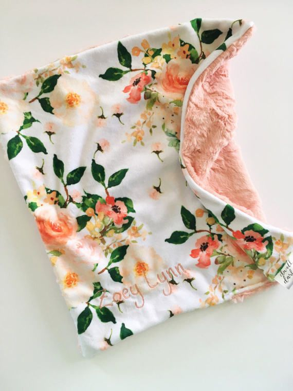 Vintage floral Blush pink Floral lovey security blanket 16 inches x 16 inches, minky, floral nursery #securityblankets