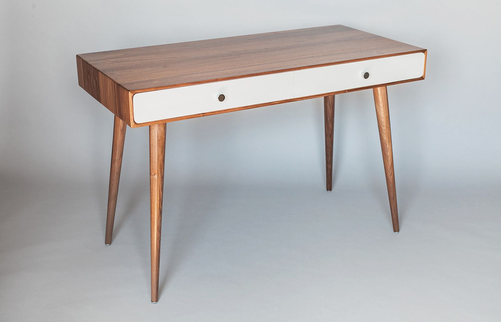 Solid Walnut Desk With White Drawers Dressing Table Mid