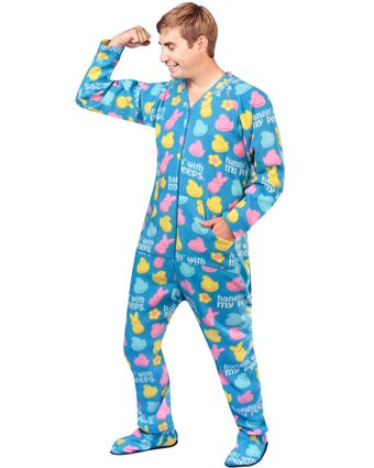 16b71db5d145 Blue Peeps Footie Pajamas