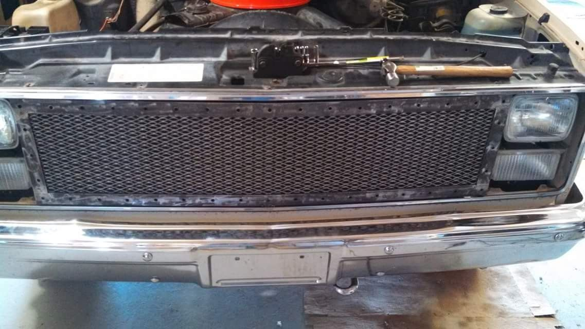 over all photo of a custom squarebody chevy grille during