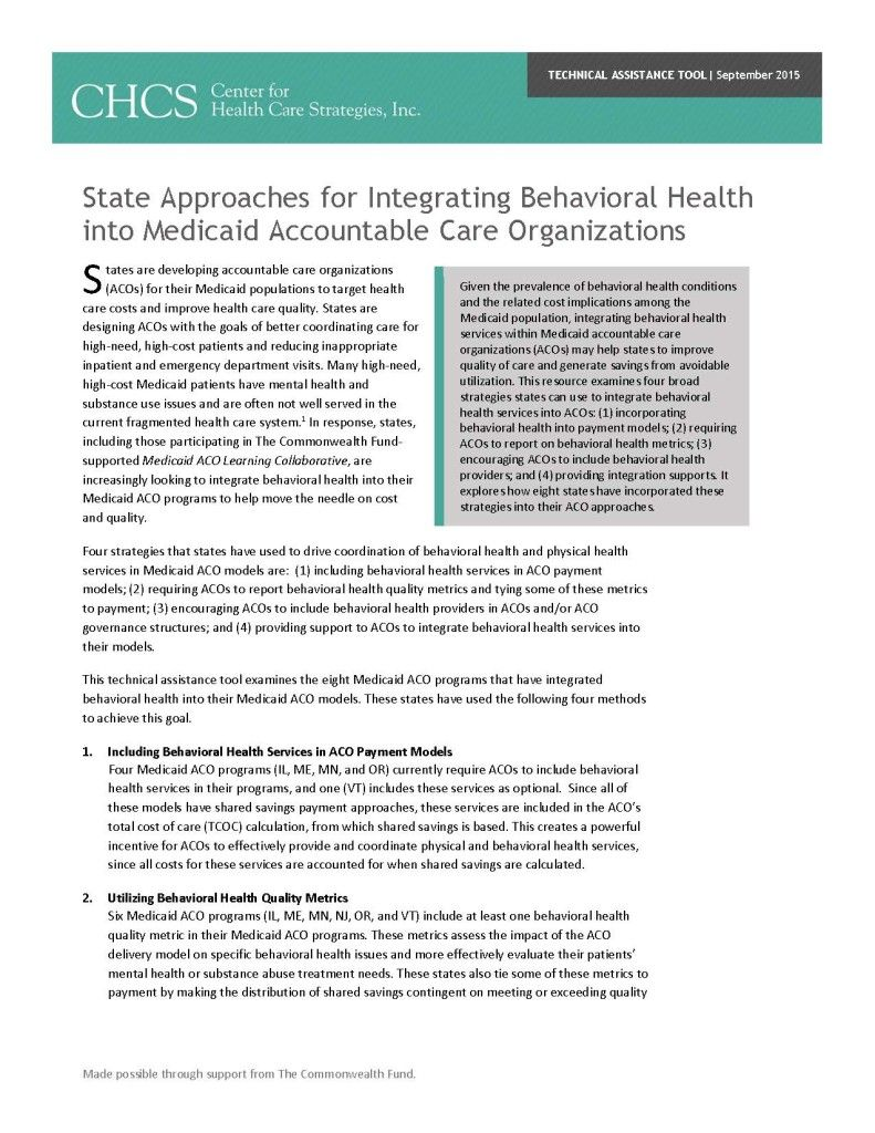 This technical assistance tool examines four broad strategies states can use to integrate behavioral health services into accountable care organizations: (1) incorporating behavioral health into payment models; (2) requiring ACOs to report on behavioral health metrics; (3) encouraging ACOs to include behavioral health providers; and (4) providing integration supports. It explores how eight states have incorporated these strategies into their ACO approaches.