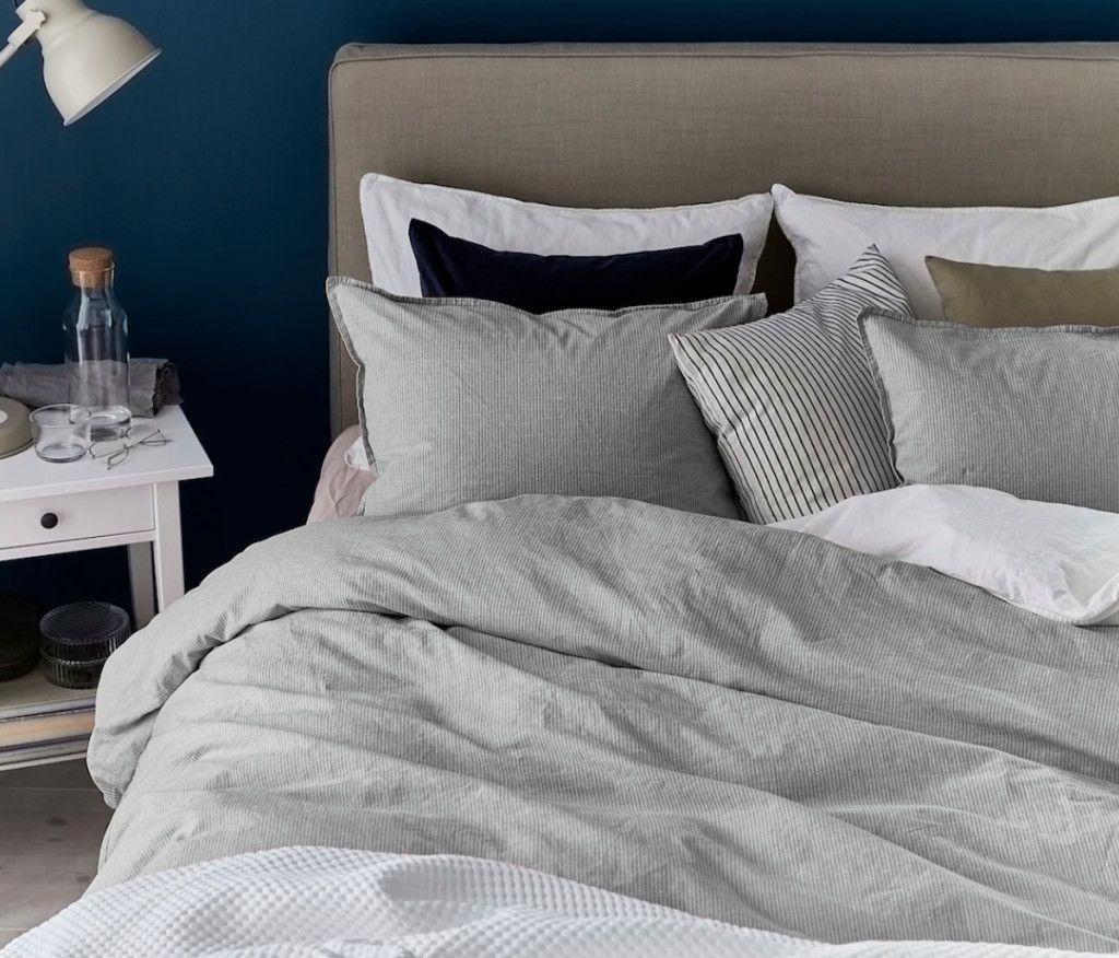 BERGPALM Duvet cover and pillowcase(s) gray, stripe Full
