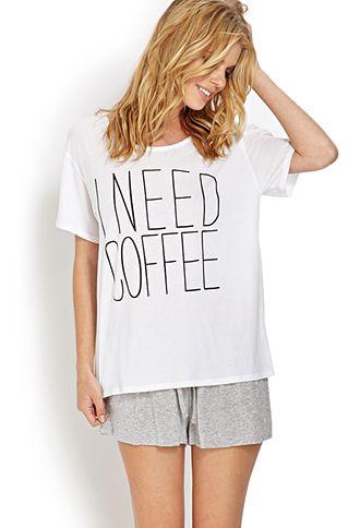 I Need Coffee PJ Set