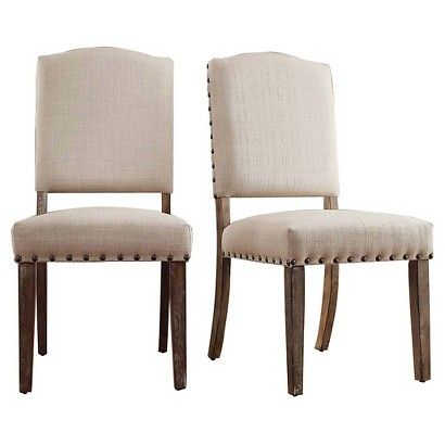 Inspire Q Cobble Hill Nailhead Accent Dining Chair - Oatmeal (Set of 2)