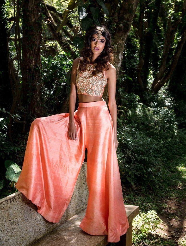 984d63bd7a9 Floral Crop Top & Silk Palazzo Pants - WaliaJones | Dresses ...