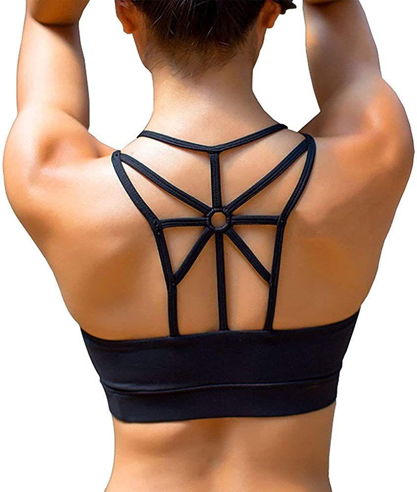 Womens Sport Bras High Support Padded Running Yoga Workout Bra Cross Back