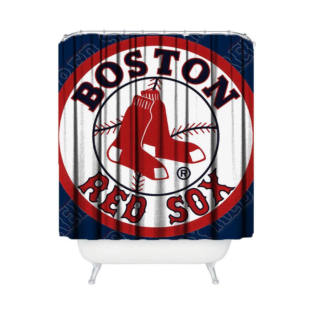 Boston Red Sox Baseball Shower Curtain Bathroom Home Decor
