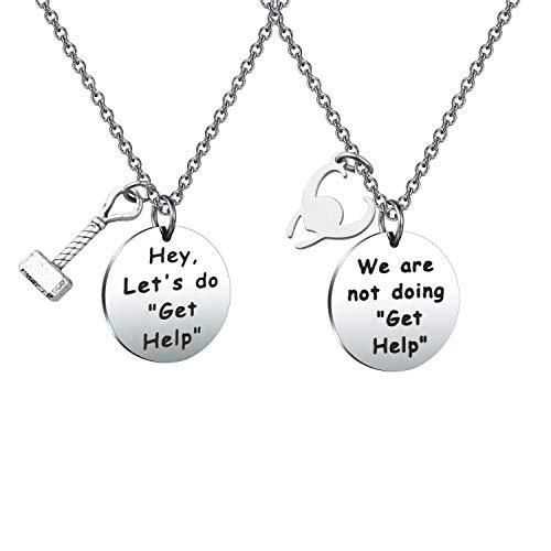 """MAOFAED Friendship Gift Friendship Jewelry Best Friend Gift Gift for Friend Hey Let's Do Get Help Friendship Necklace - Hey, Let's do """"Get Help"""" / We are not doing """"Get Help"""". These are perfect for any one who loves her friend. Material: Stainless Steel, it is lead free and nickel free, hypo allergenic, it doesn't rust, change colour or tarnish. Measurement: 20mm. TIPS:manual measuring permissible error. Do you often pull a """"get help"""" maneuver with your sibling? A perfect gift for your best frie"""