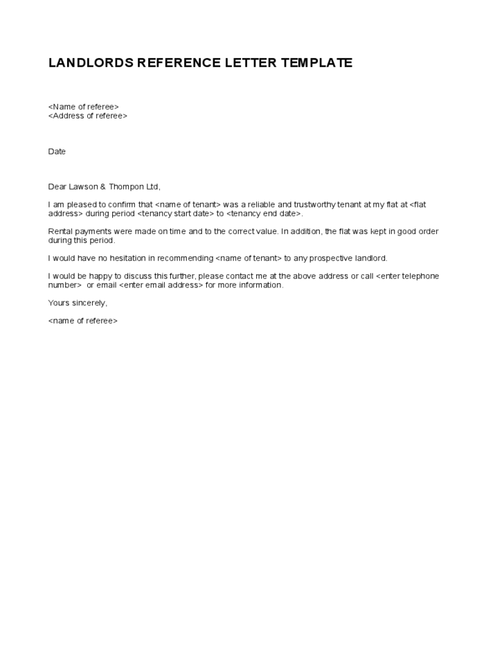 Simple Landlord Reference Letter Template
