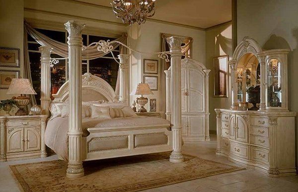 luxury white bedroom furniture four poster bed massive pillars with - Poster Bedroom Sets
