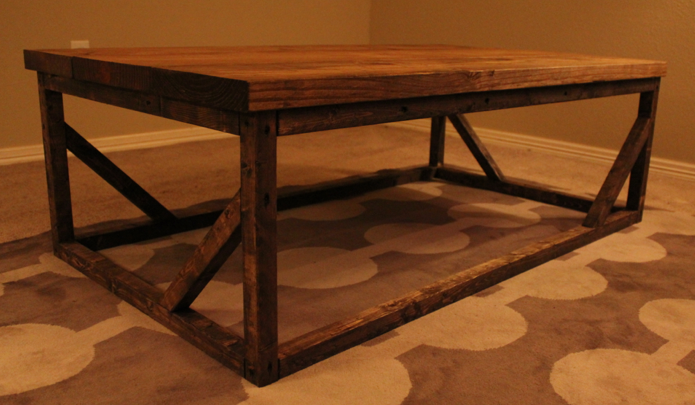 Emmalyn Coffee Table, wood base, in Early American stain (top) and Dark Walnut stain (base).
