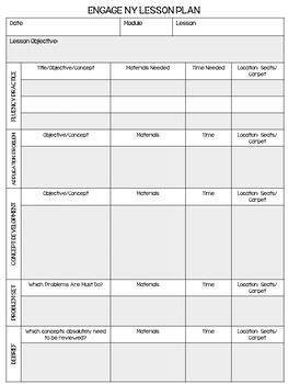 Engage NY Math Lesson Plan Template   EDITABLE
