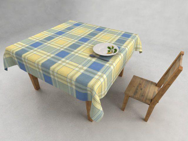 3D Model Wooden table and chair c4d, obj, 3ds, fbx
