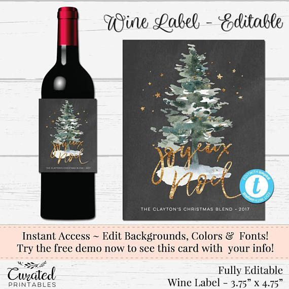 holiday wine label editable wine label christmas wine label online labels label templates different