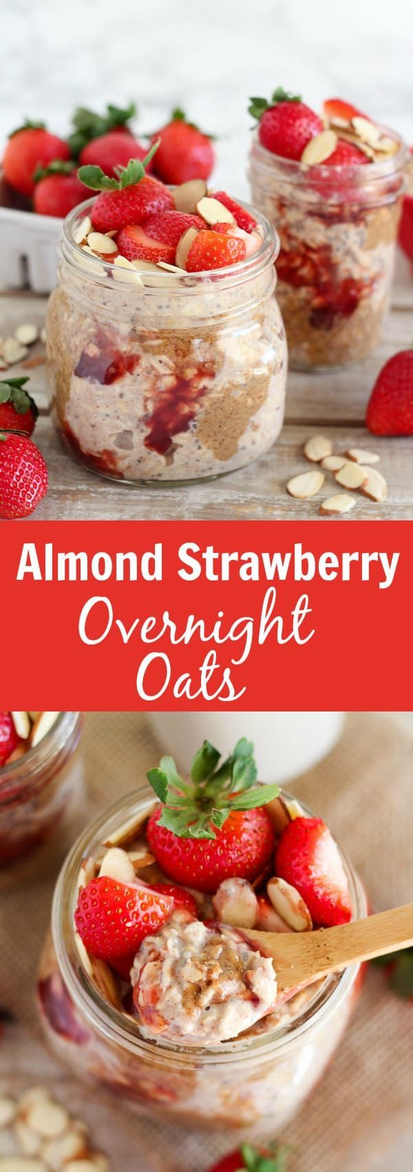 Strawberry Overnight Oats - A recipe for creamy overnight oats flavored with almonds and strawberries. This healthy make-ahead breakfast is great for busy mornings.