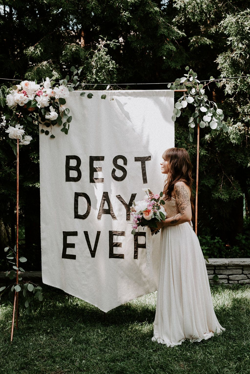 Backyard Wedding at Home with a Banner Backdrop | Outdoor ...