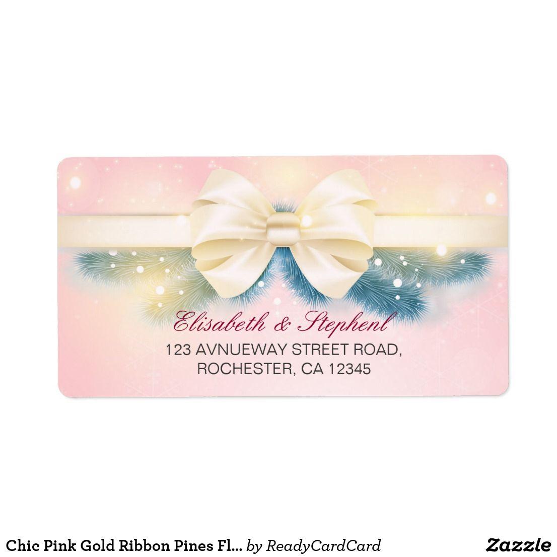 Chic Pink Gold Ribbon Pines Fl Wedding Address Label Elegant Vintage Modern And