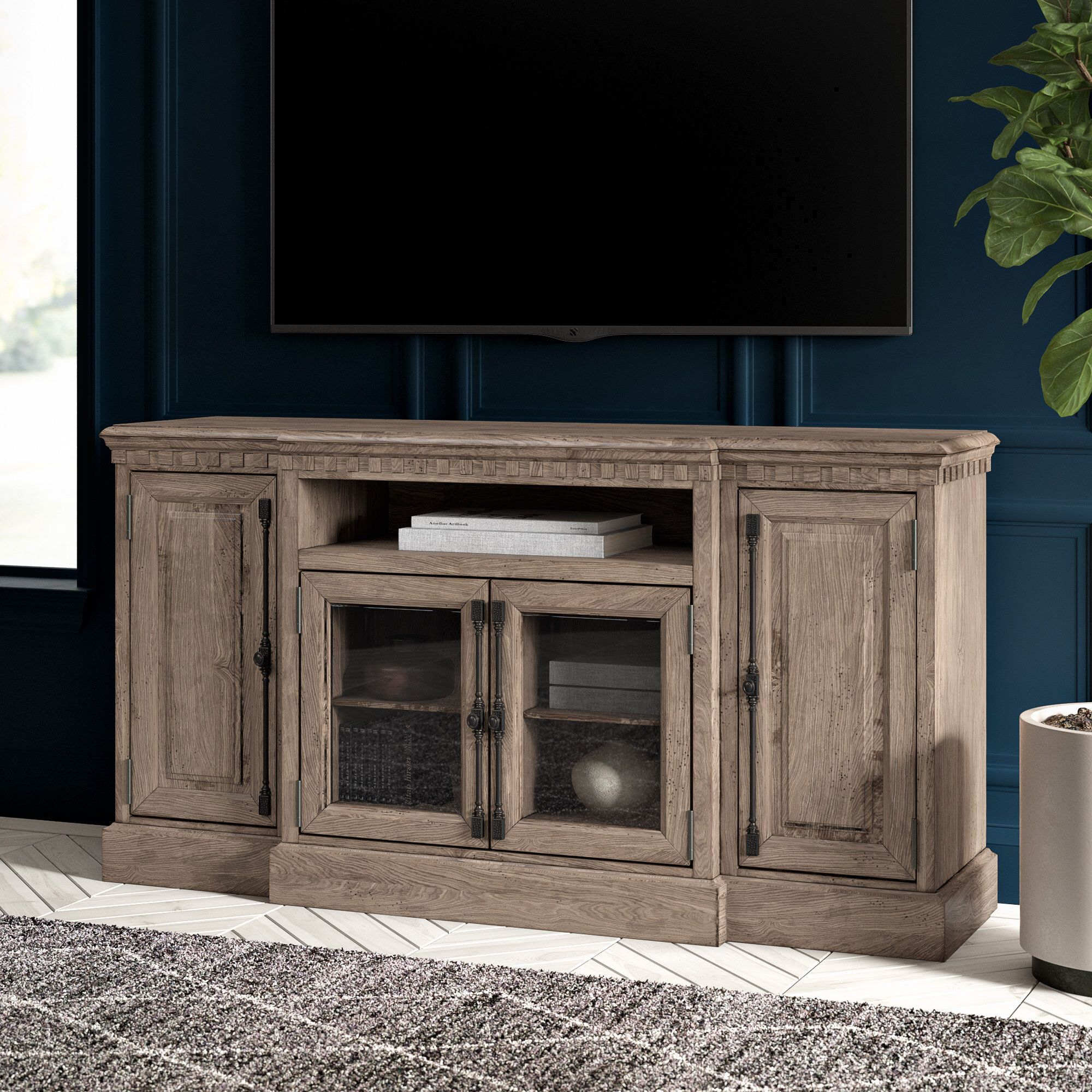 Lodge Tv Stand For Tvs Up To 75 Solid Wood Tv Stand Tv Stand Petrolia