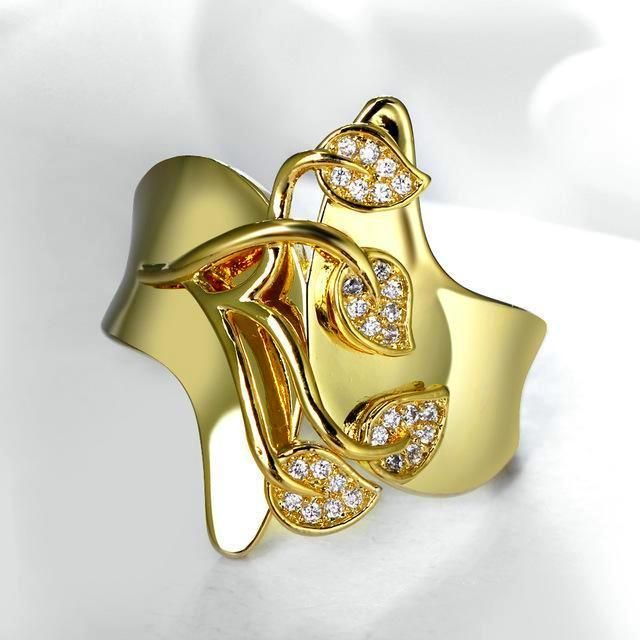 Ladies  Yellow Gold Plated Fashion Ring Band Embedded with CZ Heart shaped