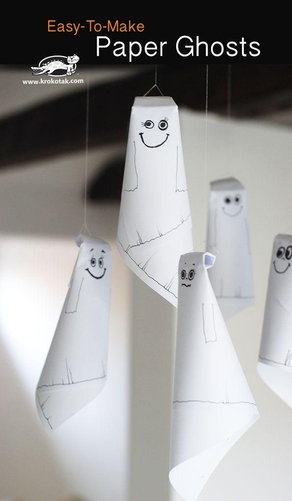Geister aus Papier selber basteln Halloween Deko