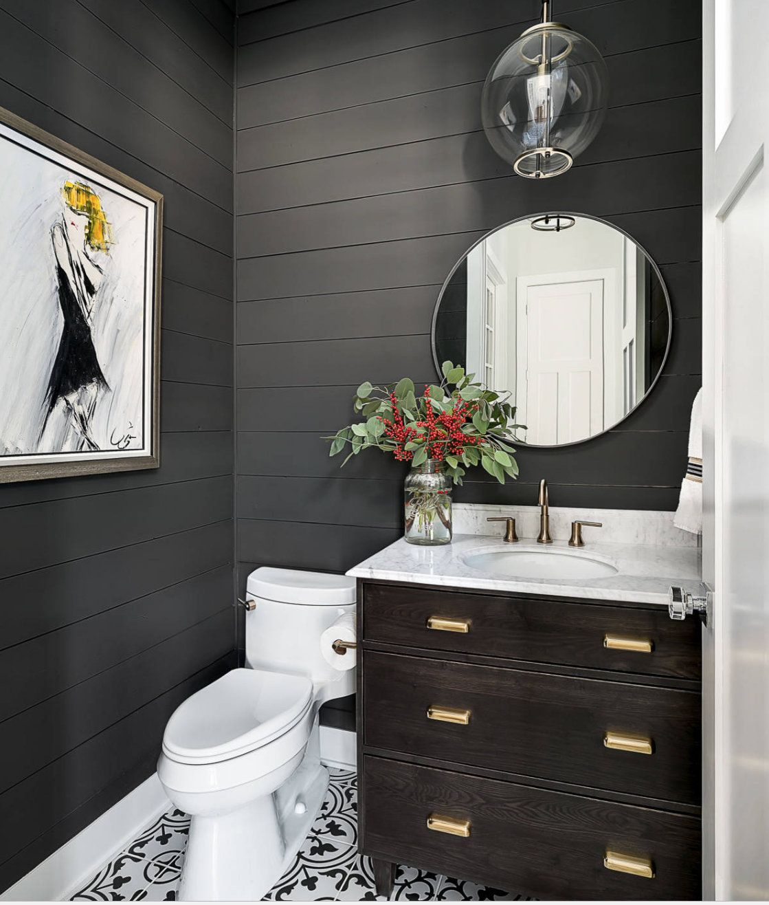 Tips For Using Dark Moody Paint Colors | Bathroom Wall Colors, Powder Room Vanity, Dark Grey Walls