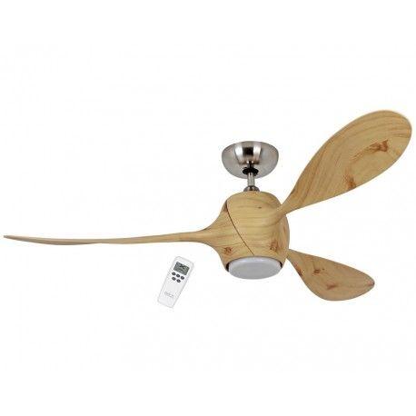 Eco Fiore 142 Cm Ventilateur De Plafond Design Imprime Epicea Fonce Avec Luminaire Led Et Telecommande