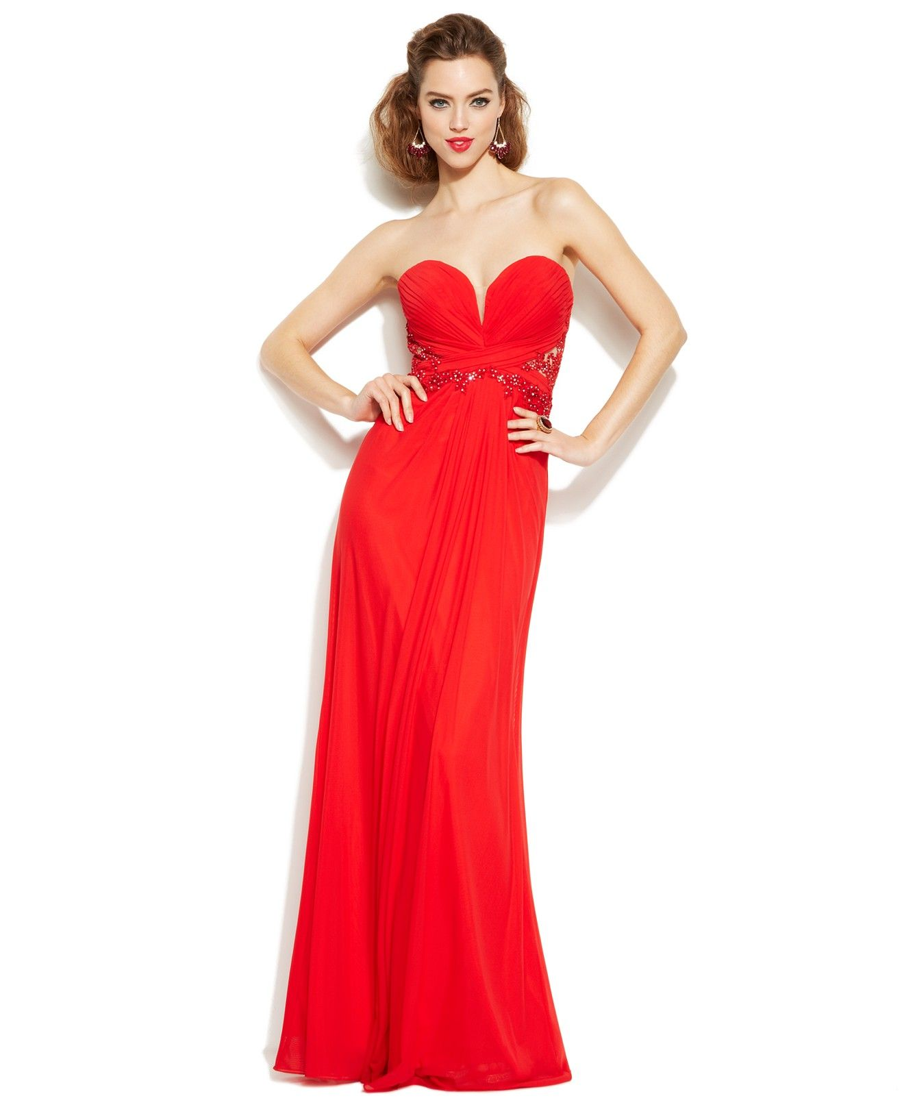 Xscape embellished illusion lace strapless gown juniors shop all