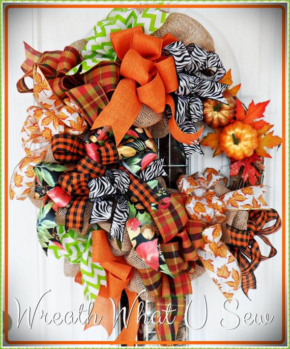 Fall Wreath Autumn Wreath Holiday Thanksgiving by WreathWhatUSew