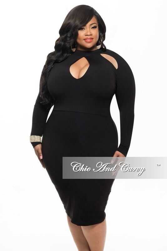 3f164853f71 New Plus Size BodyCon Dress with Top Cutouts in Black – Chic And Curvy