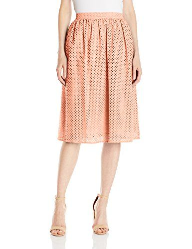 Lark  Ro Womens Eyelet Midi Skirt Shell Small >>> Find out more about the great product at the image link.