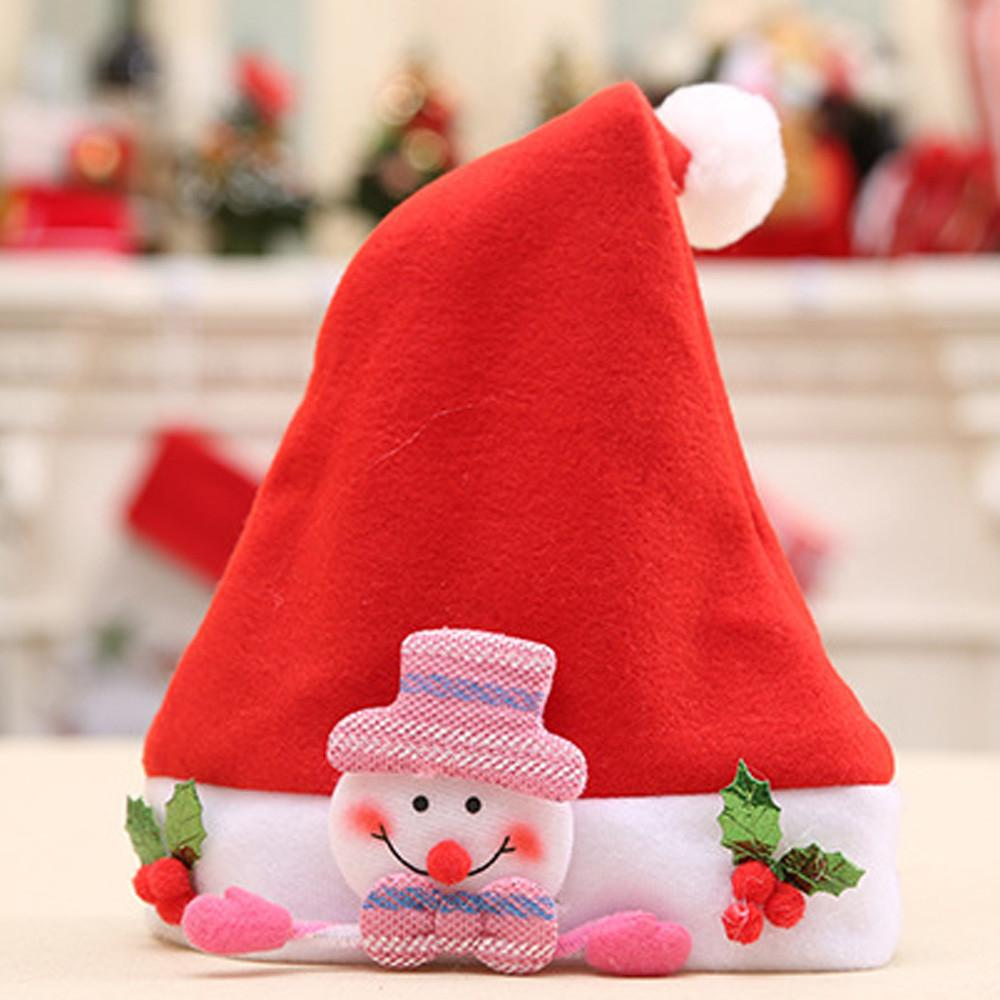 See through nose piercing  Christmas Elk Red Hat Cozy Soft Warm Children Santa Headgear