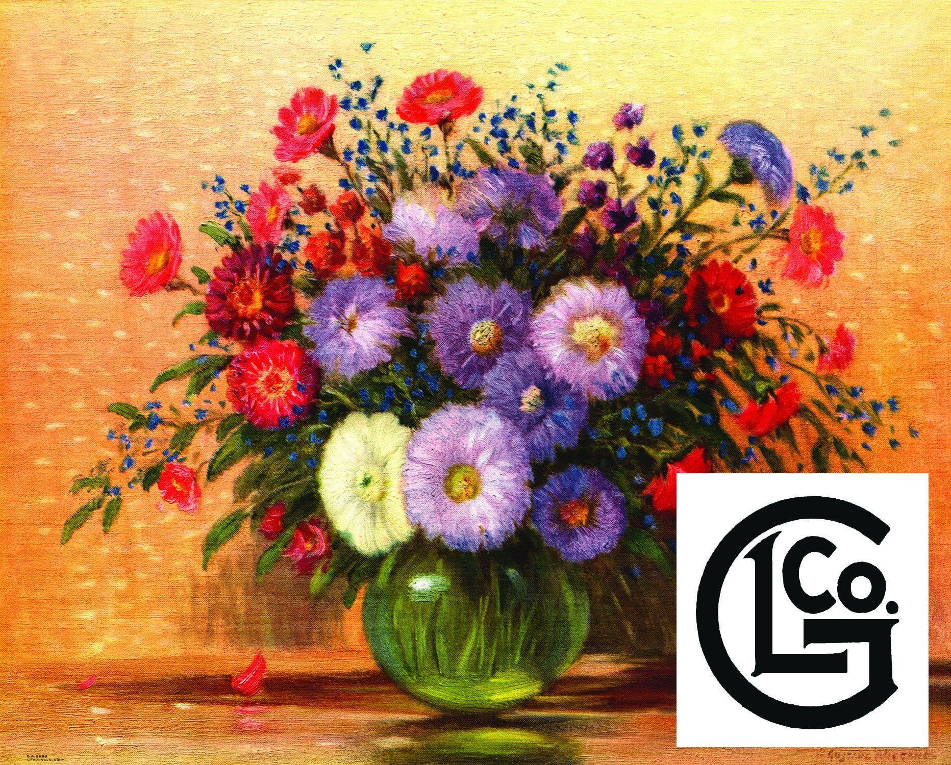Gp8998 A Vase Of Asters By Gustave Wiegano Arrangementflowers Flowers Purple Red Vase Separator Flower Arrangements Vase Flowers