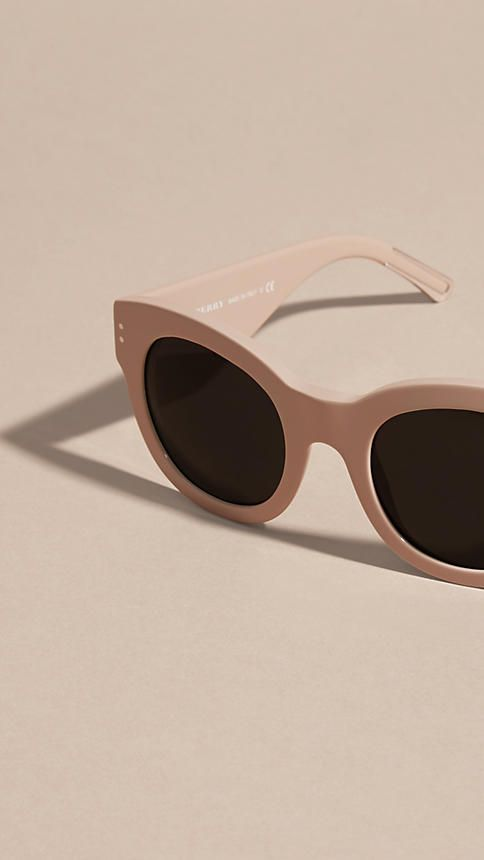 649d7c2c87174 Burberry cat-eye sunglasses in nude acetate with distinctive wide temples.