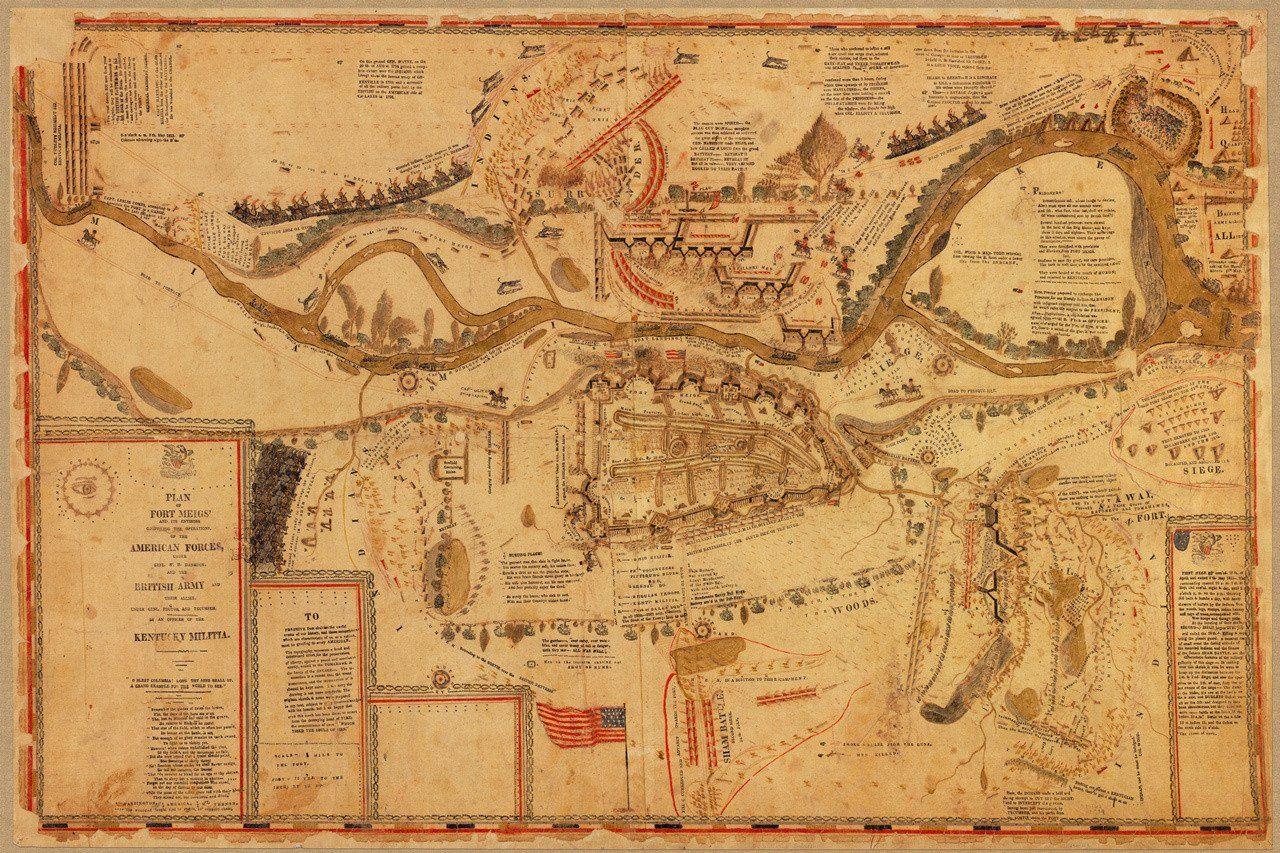 Fort Meigs Siege Amp Battle War Of Antique Map