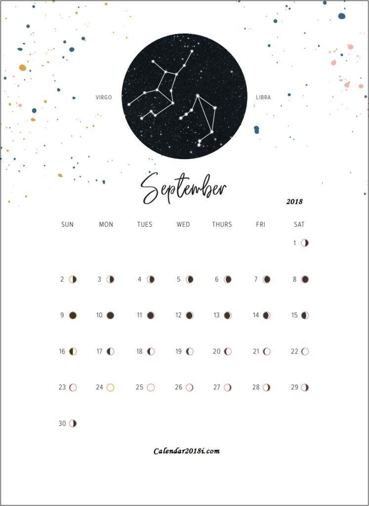 Moon Phases September 2018 Calendar Moon Phase Calendar Moon