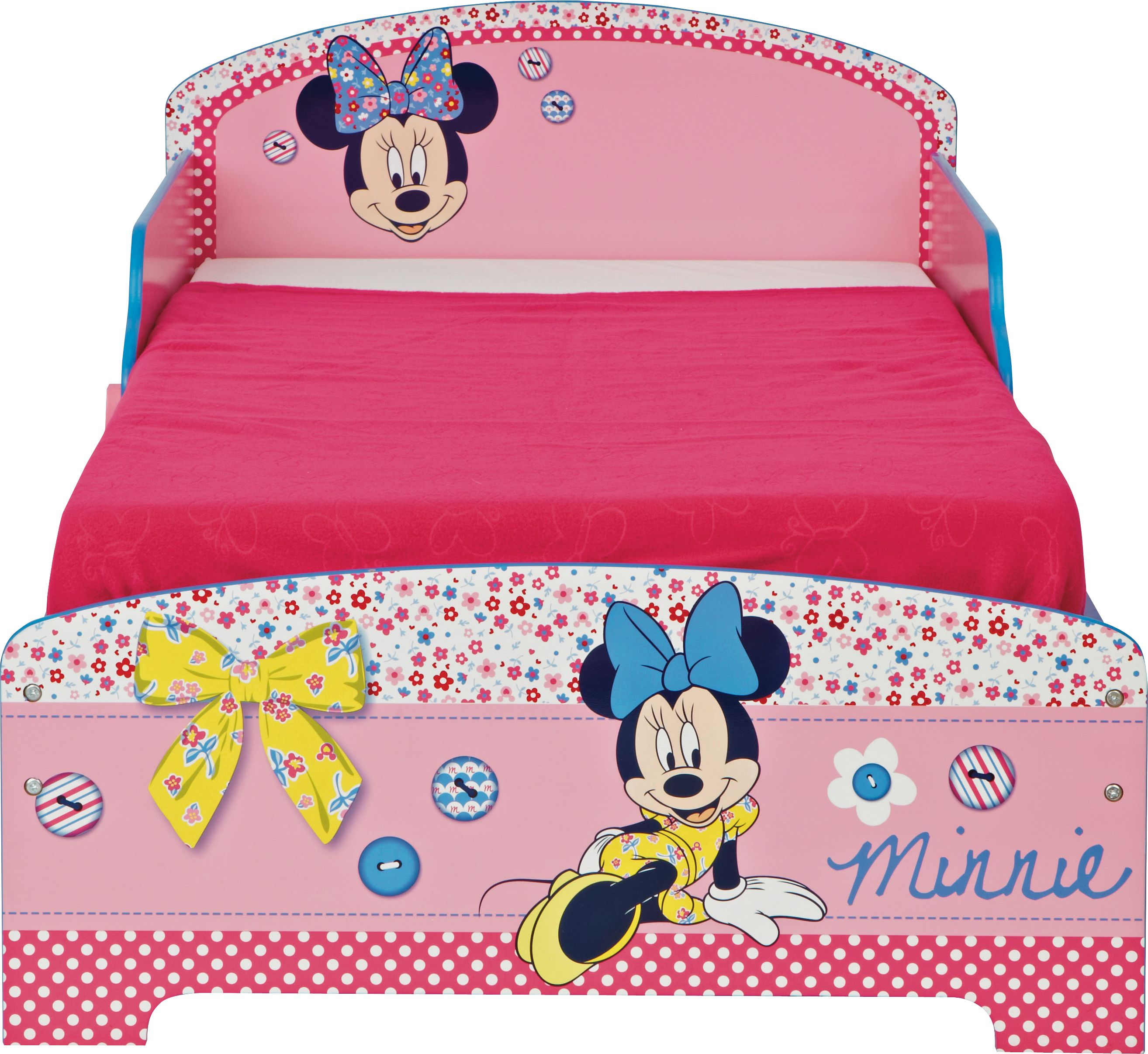 bedtime will be more appealing with this wood effect minnie mouse bed frame from argos