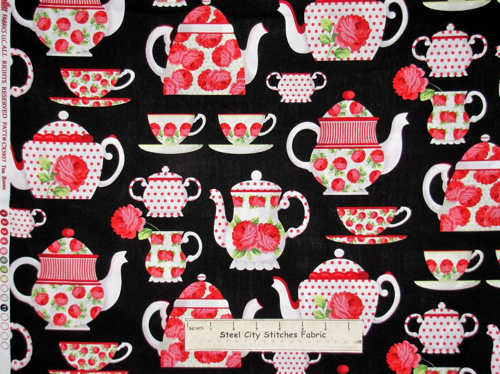 Tea Pot Saucer Cup Pink Roses Fabric Michael Miller CX-5937 Tea Room Cotton Yard #MichaelMillerFabric