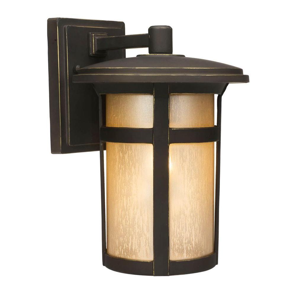Home Decorators Collection Round Craftsman 1 Light Dark Rubbed Bronze Outdoor Wall Lanter Craftsman Outdoor Lighting Craftsman Lighting Exterior Light Fixtures