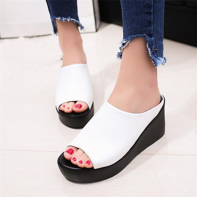 4d67406da Brand Name  IMKKG Upper Material  PU Sandal Type  Basic Occasion  Casual  Closure Type  Slip-On Outsole Material  Rubber Model Number  women platform  wedges ...