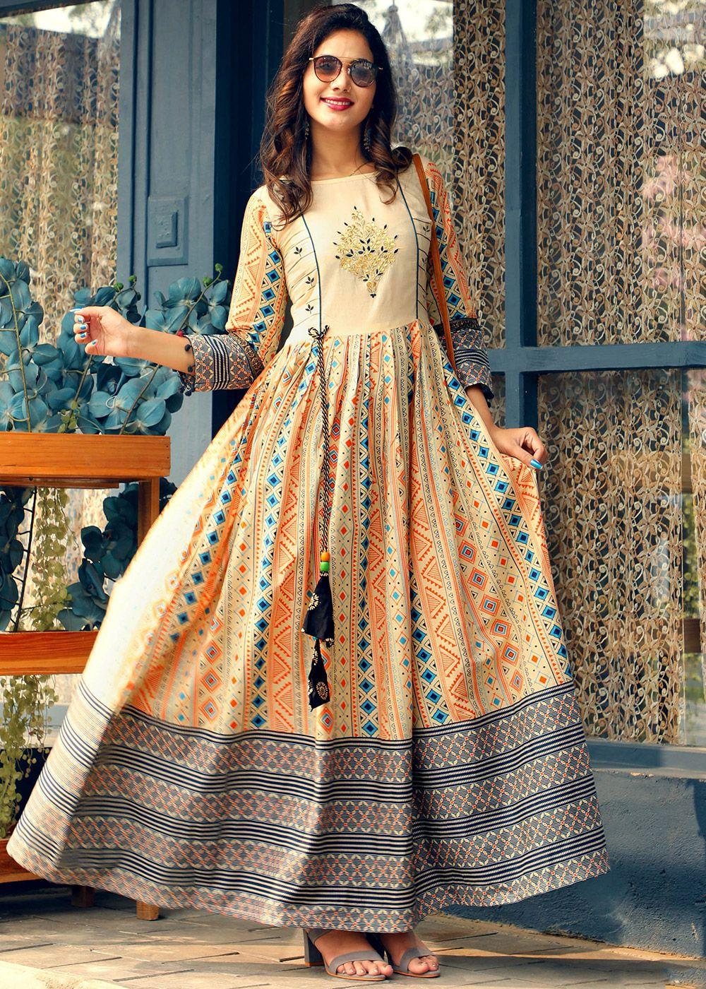 Fabric Reyon  Gota work on kurti with print jacket Women Indian Ethnic Kurta Kurti Flared Anarkali Kurta Blue Partywear Gown Dress