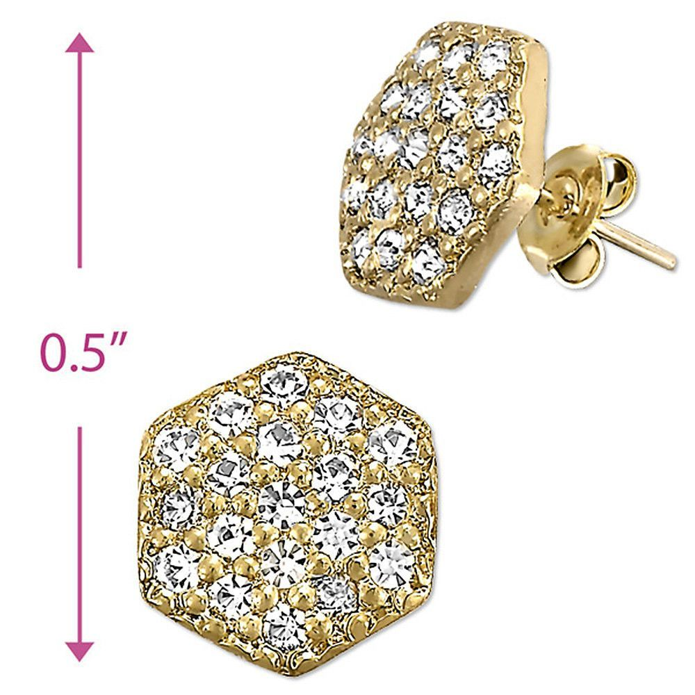 14kt Yellow Gold Micro Pav CZ Round Post Earrings