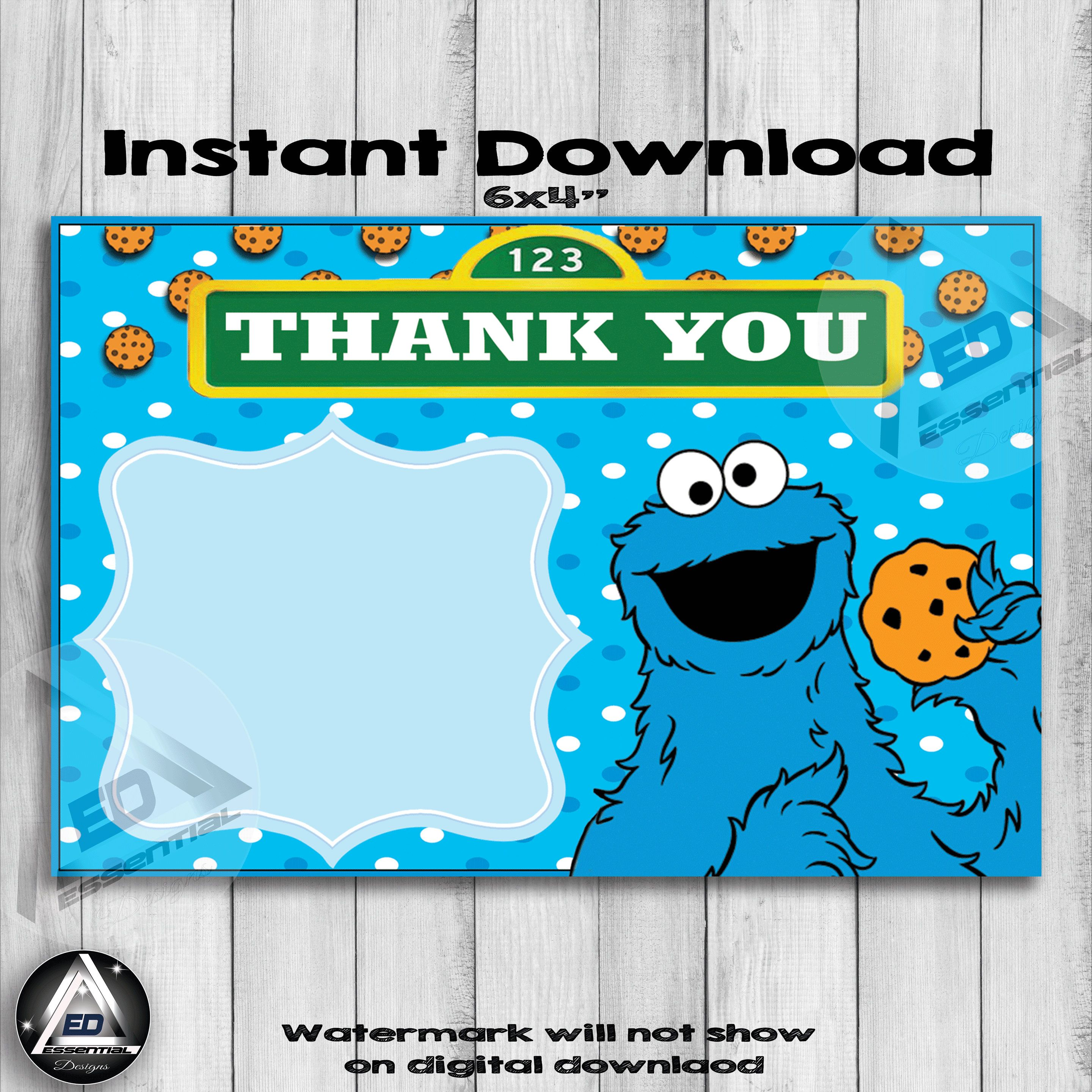 Excited To Share The Latest Addition To My Etsy Shop Cookie Monster Thank You Card Cookie Monster Birthday Monster Cookies Thank You Cards