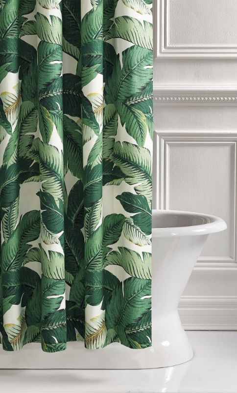Lanai Palm Shower Curtain Tropical Shower Curtains Green Bathroom Decor Shower Curtain