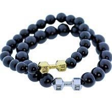 Pierre Naturelle D Obsinne Bracelets Haltère Charm Main Quartz Perles Bracelet Workout Fitness Crossfit Barbell